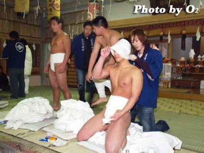 北海道 木古内町 寒中みそぎ 行修者 水垢離準備