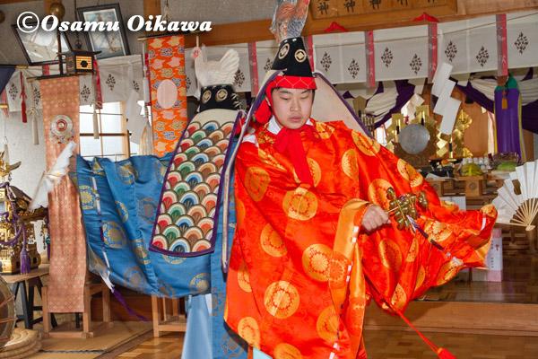 松前町 清部八幡神社 松前神楽 庭散米舞 2013