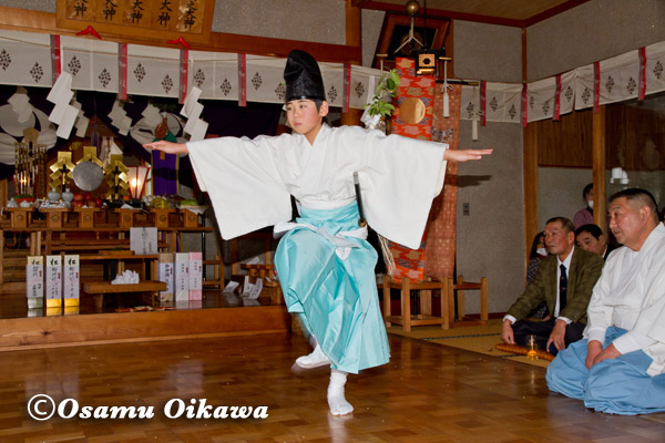 松前町 清部八幡神社 松前神楽 山神舞 2013