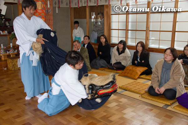 松前町 清部八幡神社 松前神楽 十二の手獅子舞五方 2013