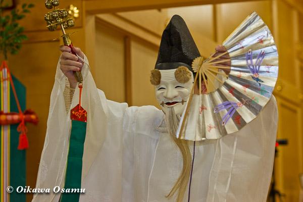 札幌村神社 2013 宵宮祭 神楽舞 白面