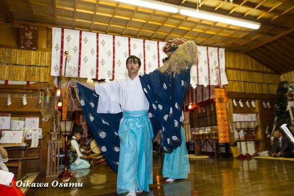 上磯八幡宮 松前神楽 十二の手獅子舞五方 2013