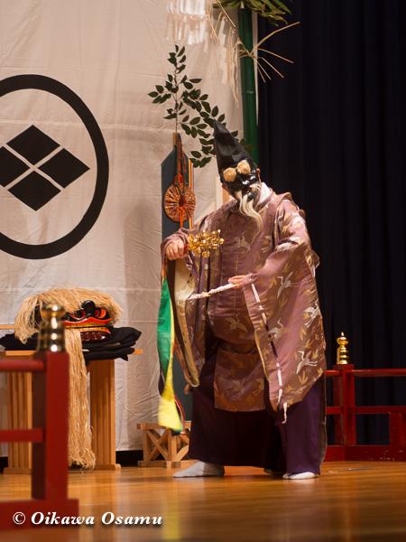 松前神楽小樽ブロック保存会合同公演 2013 京極町 後志 三番叟舞