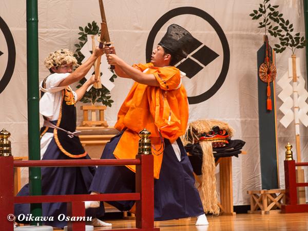 松前神楽小樽ブロック保存会合同公演 2013 京極町 瀬棚 兵法舞