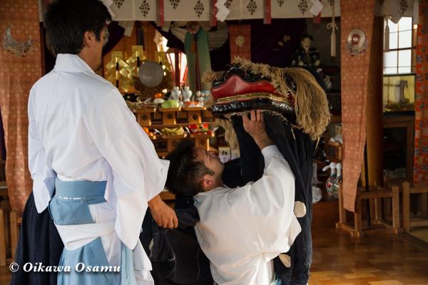 清部八幡神社 元旦 神楽奉納 松前神楽 十二の手獅子舞五方