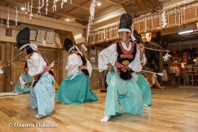 平成28年 尻岸内八幡神社 鎮座400年祭 松前神楽 四箇散米舞