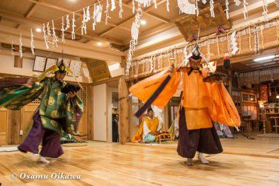 平成28年 尻岸内八幡神社 鎮座400年祭 松前神楽 二羽散米舞