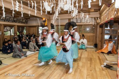 平成28年 尻岸内八幡神社 鎮座400年祭 松前神楽 直会祭 四箇散米舞