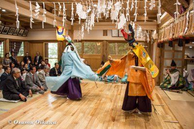 平成28年 尻岸内八幡神社 鎮座400年祭 松前神楽 直会祭 二羽散米舞