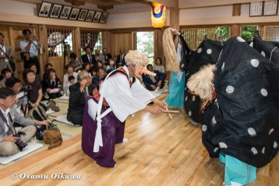 平成28年 尻岸内八幡神社 鎮座400年祭 松前神楽 直会祭 十二の手獅子舞・面足獅子