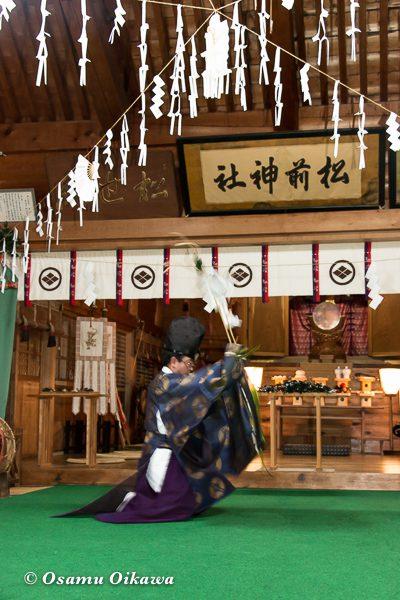 松前神社 宵宮祭 松前神楽 福田舞 平成28年