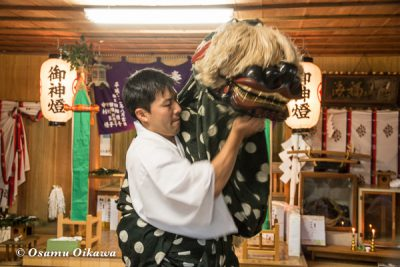 松前町 大澤神社 松前神楽 十二の手獅子舞五方