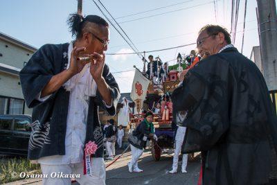 北海道,姥神大神宮渡御祭,山車,平成28年,江差町,下町巡行,蛭子山,笛吹き