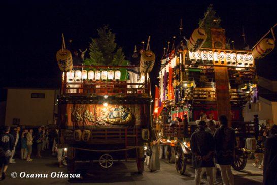 北海道,姥神大神宮渡御祭,山車,平成28年,江差町,下町巡行,山車コラボレーション