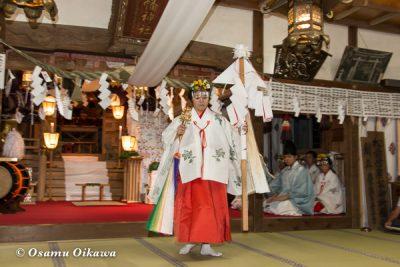 北海道 乙部八幡神社 神楽舞 御幣舞