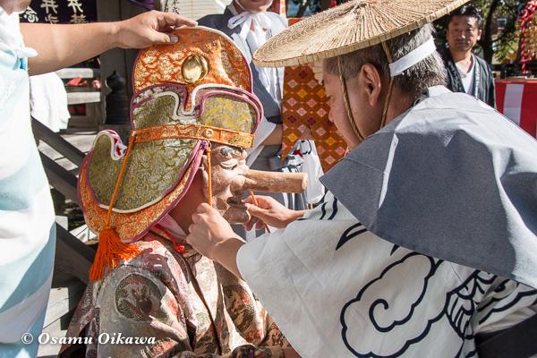 福島町 福島大神宮渡御祭 2日目 神社行列 猿田彦準備