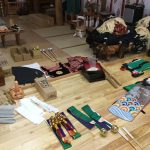 松前神楽道具の撮影風景