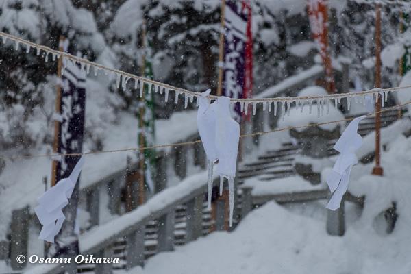 平成29年 木古内町 佐女川神社 寒中みそぎ祭 凍りつく紙垂