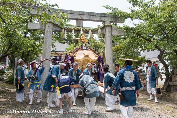 H29 寿都町 寿都神社 渡御祭 鳥居を潜る神輿