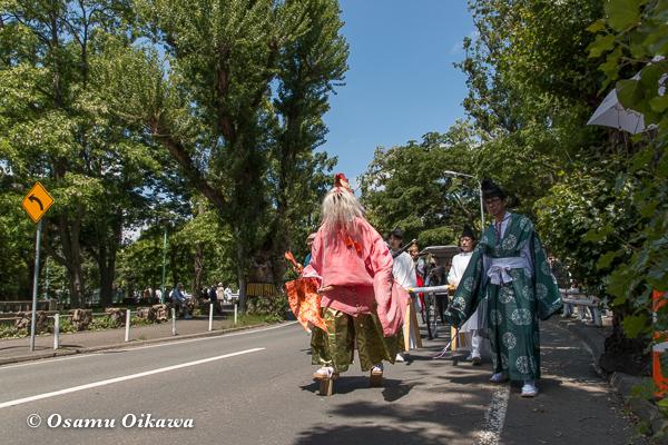 平成29年 北海道神宮例祭 渡御祭 中島公園 ポプラ並木 行列 猿田彦