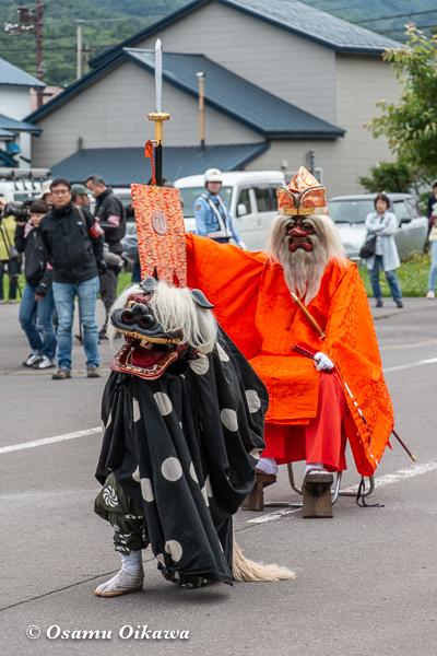 平成30年 美国町 美国神社 例大祭 2日目 獅子舞 猿田彦 掛け合い