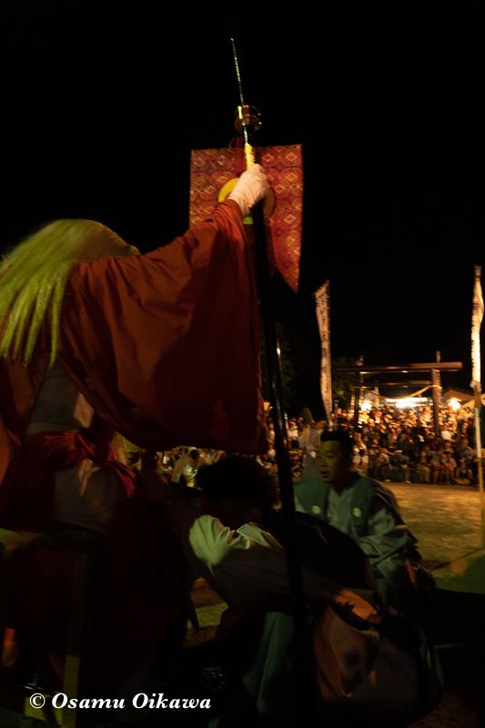 平成30年 古平町 琴平神社 例大祭 渡御祭 猿田彦 火渡り前の準備