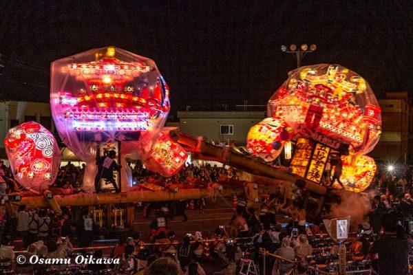 平成30年 沼田町 夜高あんどん祭り 初日 夜高あんどんぶつけあい01