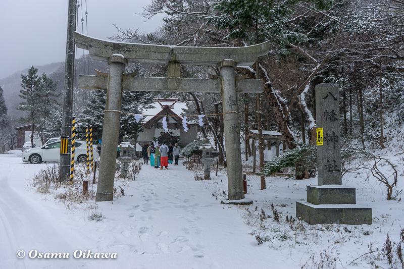 平成30年 松前町 原口八幡神社 新春門祓神事 鳥居前