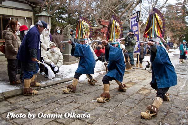 八戸えんぶり 早朝 長者山新羅神社 平成24年 2012年 三八城神社 摺り02