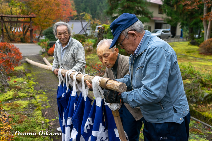 平成30年 秋田県 横手市 保呂羽山波宇志別神社里宮 幟を上げる