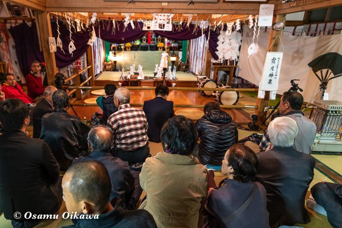 平成30年 秋田県 横手市 保呂羽山波宇志別神社里宮 拝殿 霜月神楽 開始前