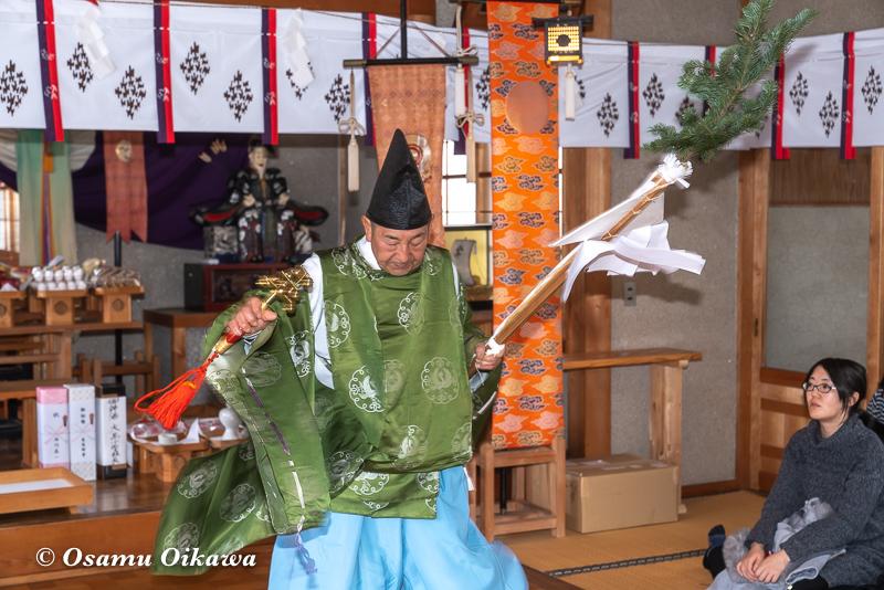平成31年 松前町 清部八幡神社 松前神楽披露 榊舞