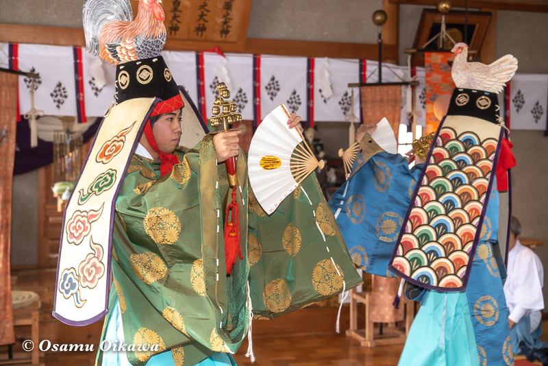 平成31年 松前町 清部八幡神社 松前神楽披露 二羽散米舞